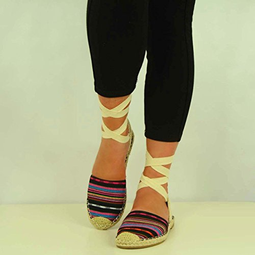 Cucu Fashion , Bride de cheville femme Noir - Black Canvas Striped