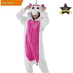 JunYito Pijama Animale Niños Niña Adulto Mujer Invierno Kigurumi Unicornio Disfraz Cosplay Halloween y Navidad (M, Unicornio adultos)