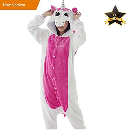 einhorn kigurumi Pyjamas Kinder Erwachsene Einhorn Einteiler Tieranzüge für Junge Mädchen Damen Herren (XL, Einhorn Erwachsene)