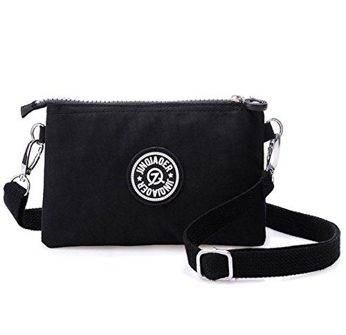 Tiny-Drei Schichten Reißverschluss Geldbörse Wasserdicht Nylon Wristlet Tasche Handy-Tasche mit Schultergurt, Schwarz - schwarz - Größe: (Mädchen Crossbody-tasche)