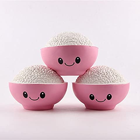 Jumbo Squishy, Sinto 1pc Squeeze Soft Stress Relief Toys Slow Rising Cream Scented Rice Bowl, Random Color