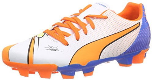 PumaevoPOWER 4.2 POP FG Jr - Calcio scarpe da allenamento Unisex - bambino , Bianco (Weiß (white-orange clown fish-electric blue lemonade 01)), 38