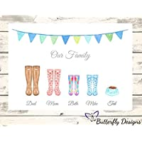 Personalised Watercolour Family Wellington Boots A4 PRINT (NO FRAME) Picture Wellie Wellies Welly Rain Boot Tree Gift Present Mothers Day Christmas Birthday Wedding - Design 3