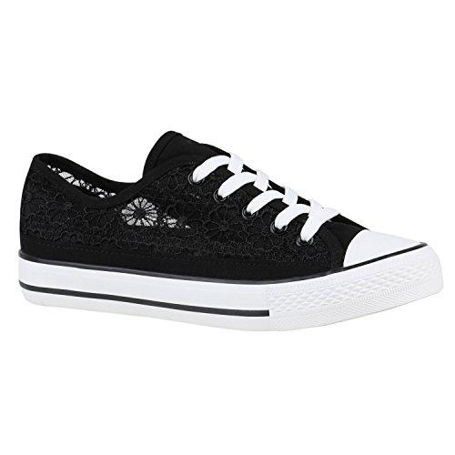 Damen Schuhe Sneakers Sportschuhe Schnürer 155785 Schwarz Spitze 38 Flandell (Schwarz Spitze Kostüm)