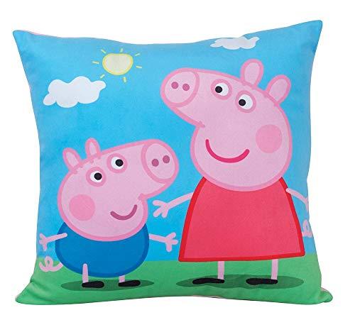 FUN HOUSE 712556 Peppa Pig Coussin carré pour Enfant Peluche, Bleu, 35 x 35 x 11 cm