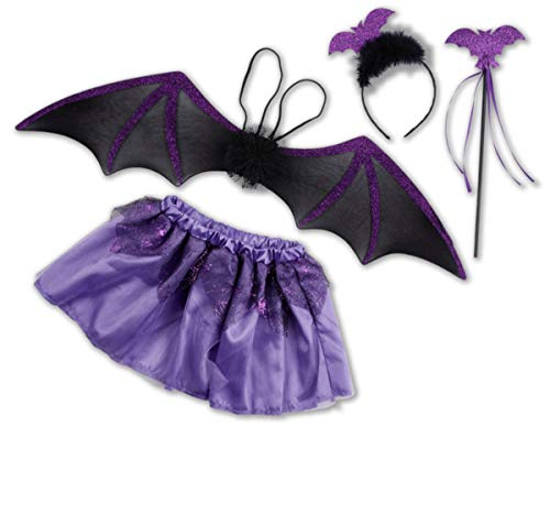kaiser24 Kinder Tutu Set Fledermaus Halloween Kostüm (Tutu Set Fledermaus (lila))