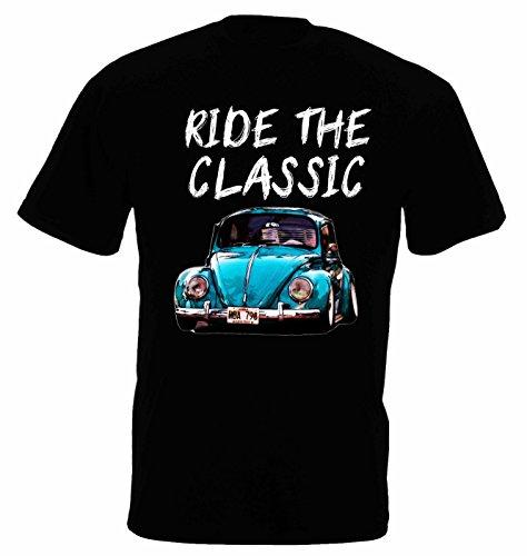Lulchev Design VW Beetle Classic Herren T Shirt T-Shirt Kurzarm (Schwarz, L)