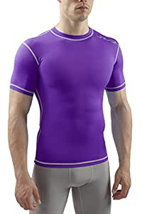 Sub Sports Men's Dual Compression Baselayer Short Sleeve Top - Purple, Small