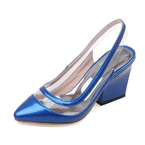 AllhqFashion Damen Ziehen Auf Hoher Absatz Lackleder Rein Schließen Zehe Sandalen Mit Hohem Absatz Blau