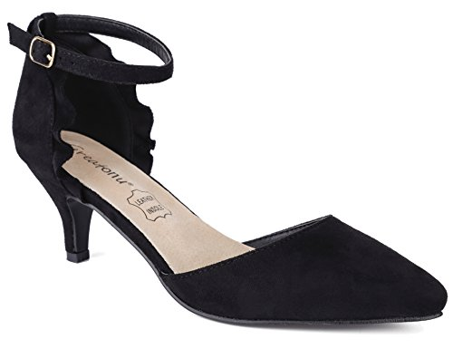 MaxMuxun Damen Sandalen Kitten Absatz Pointed Toe Pumps Schwarz Größe 38EU Kitten-sandalen
