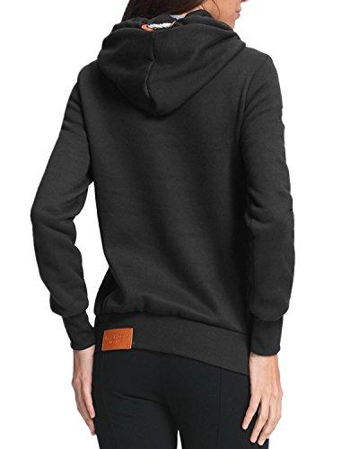 StyleDome Winter Damen Kaputzenpullover Hoodie Langarm Hohe Kragen Sweatshirt Pullover Casual Slim Jumper Kaputzen Outerwear Schwarz459701