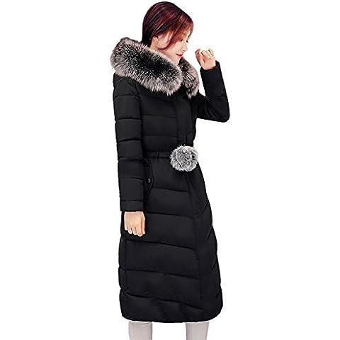 MODETREND Mujer Largo Hoodie Chaquetas de Plumas con Cuello de Piel Espesado Abrigo con Capucha Encapuchado Acolchada Abajo Para Otoño Invierno Parka