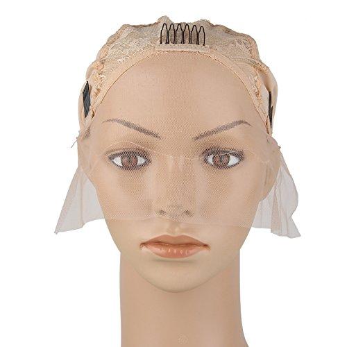 Beauty7 Wig Cap de Perruque Beige avec Peigne Capuchon Casquette de Base avec Sangle Reglable Chapeau pour Bricolage Extension de Cheveux Crochet Tissage Filet A Bonnet Perruque Deguisement Dome Cap