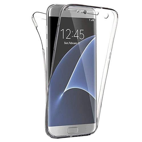 Compatible avec Samsung Galaxy S7 Edge Coque, Ultra-Mince Transparent Etui 360 Tout Le Corps Degrés Protection Housse Premium Souple Silicone TPU Bumper Coque Antichoc Anti-Rayures - Cristal