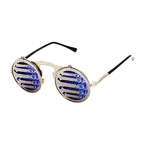 Retro 80s Fashion (Coating Sunglass Steampunk Round Fashion Sunglasses Women Brand Designer Steam Punk Metal Sun Glasses Men)