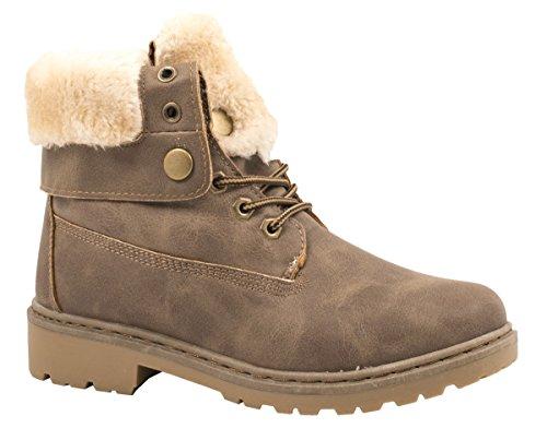 Elara Damen Worker Boots | Bequeme Warm Gefütterte Schnürrer | Outdoor Stiefeletten Khaki Sydney