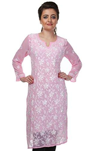 ADA Exclusive Needlecraft Ethnic Wear Straight Chikan Georgette Kurti Dress A90410, Pink...