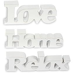 3er Set Schriftzug aus Holz Love Home Relax - weiß altweiß shabby vintage - Aufsteller Buchstaben Bild Dekoration Deko