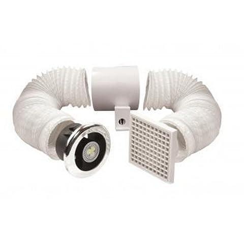 Vent-Axia 441424 Vent-a-Light Ventilateur d'extraction d'air Kit d'éclairage LED &de douche avec minuteur (Zone 1)