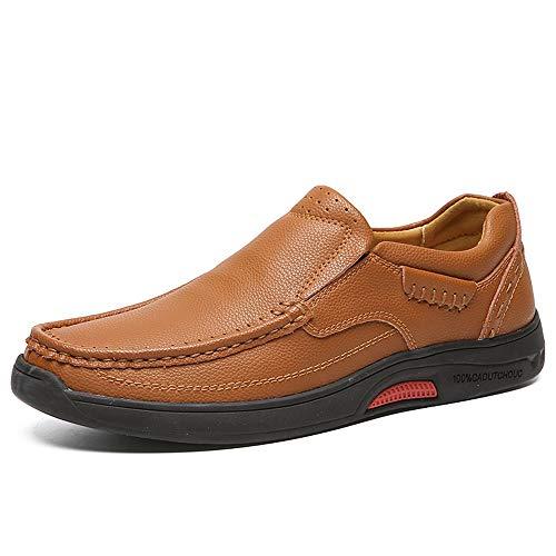 YIJIAN-SHOES Herren Oxford Schuhe Stilvoller bequemer Herren-Sneaker-Flacher Absatz Weiches echtes Leder im klassischen Design aus Leder Kleid Oxford Schuhe (Color : Braun, Größe : 42 EU)