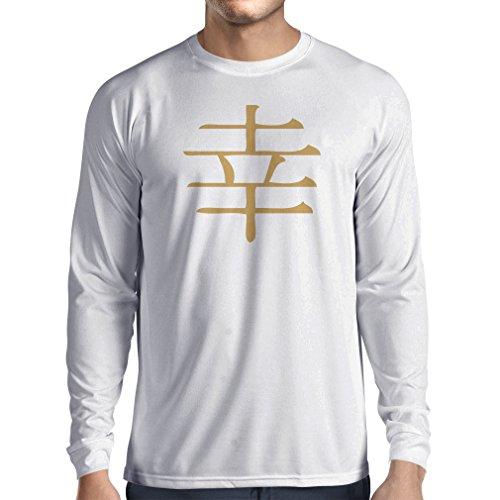 Langarm Herren t Shirts Glücklogogram - Chinesisches/Japanisches Kanji-Symbol (XS Weiß Gold)