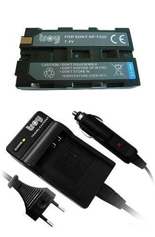 Troy Batterie + Chargeur pour Sony NP F330 NP F530 NP F550 pour TRV720 TRV820 TRV890 TRV900 TRV7000 TRV7100 DCR TV900 DCR VX2000 VX2100 VX9000 DSC CD100 CD250 CD400 D700 D770 DSR 200