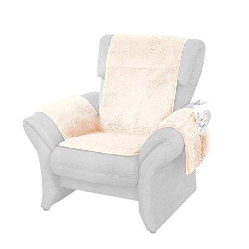 K&N Schurwoll Sesselschoner, Sesselüberwurf mit Taschen, Lehnenschutz, wärmend, 2 Taschen, Schurwolle