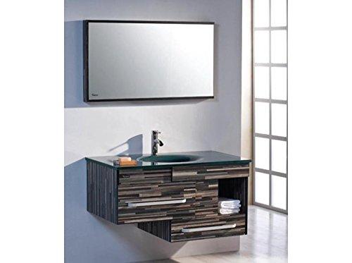 Badezimmermöbel Modern Spiegel Glaswaschtisch Schublade Plywoodholz TM-9032-3