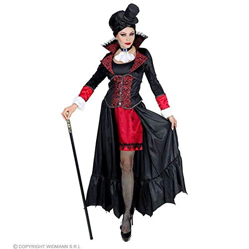 Lively Moments Damenkostüm Vampir Lady / Vampirkostüm für Frauen / Kleid mit Minihut / Halloween Kostüm Gr. L = 42/44