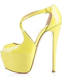 1b10e553dd52e6 Damen Open Toe Plateau Stiletto High Heel Pumps Schluepfen Knoechel Cross  Strap Buckle Party Schuhe