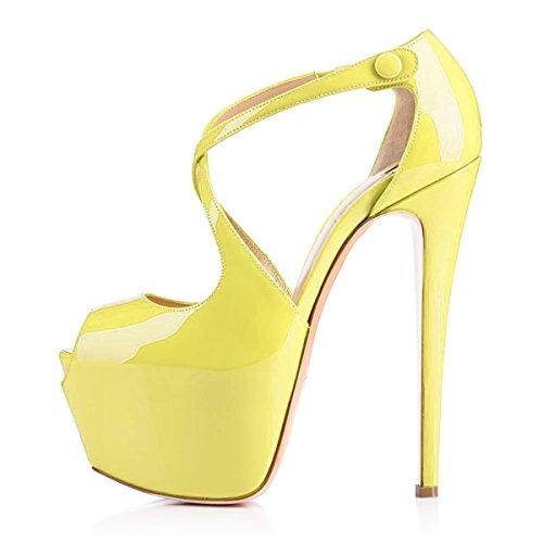 Onlymaker Damenschuhe High Heels Peep Toe Glitzer Sandale mit Plateau Gelb