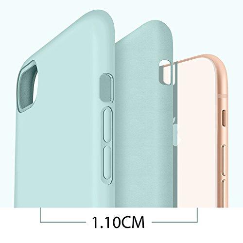 Coque iphone 8, Coque iphone 7, Humixx Soft Liquid Silicone avec Intérieur Micro Fibre Étui Housse, élégant Anti-Choc Protection de Téléphone Case Cover pour Apple iPhone 8/7 Mint green