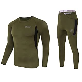 Uniquebella Men's Winter Thermal Underwear Camouflage Set of Long Sleeve Top Long Johns, Green, M
