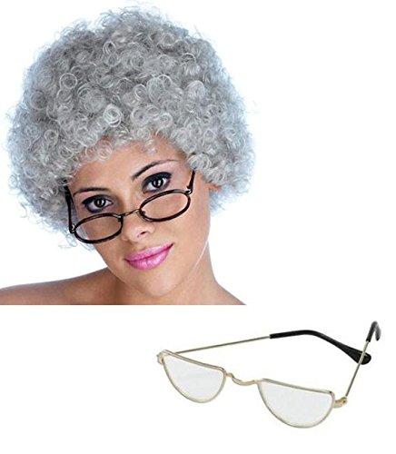 Alte Frau Granny grau gelockt Perücke und Half Moon Gläser Fancy Kleid Kit (Blue Moon Glas)