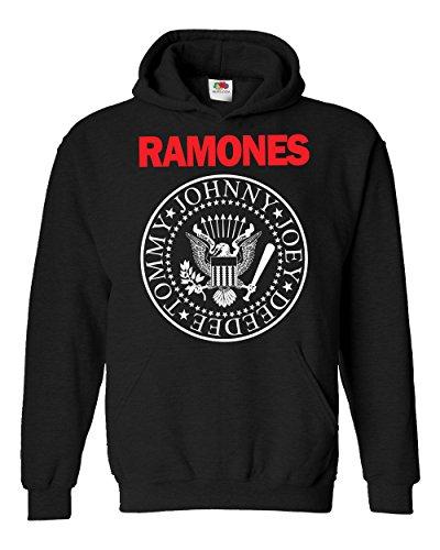 "Felpa Unisex ""Ramones - Bicolore"""" - Felpa con cappuccio rock band LaMAGLIERIA, S, Nero"