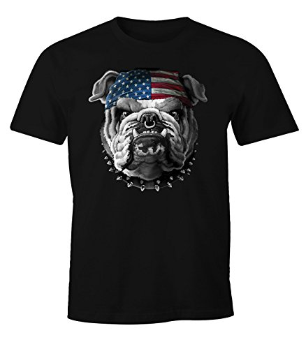 MoonWorks Herren T-Shirt American Bulldog mit USA Flagge Schwarz XL -