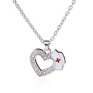Skyrim Krankenschwester Hat Halskette mit Kristall Herz Anhänger, eine Exquisite und Formale Geschenk für Abschlussfeier