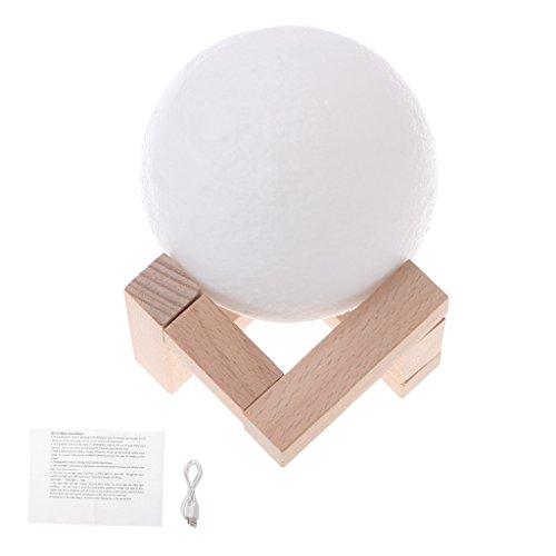 Wanfor 3D Druck Mond LED Nachtlicht mit Holzständer, 3.15 inch Moonlight Schreibtisch Lampe USB Wiederaufladbar mit Taschenlampe, Dimmbar Touch Control Helligkeit