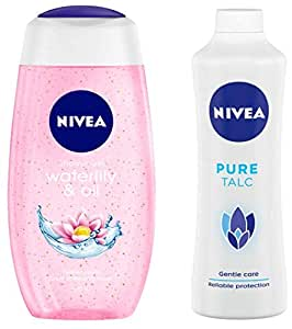 NIVEA Shower Gel, Waterlilly & Oil, 250ml & Pure Talc, Mild Fragrance Powder, 400g Combo