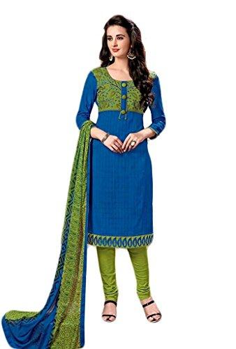 Manmandir Cotton Silk Dress Material / Salwar Suit for Women (Manjulika-574_Blue)