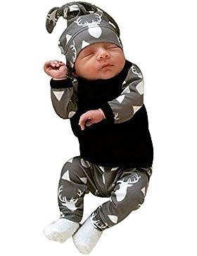 BeautyTop 3Pcs Neugeborenes Baby-Jungen-Kleidung-Rotwild-Oberseiten T-shirt + Hosen-Gamaschen-Ausstattungs-Set