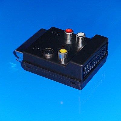 Audio Video Adapter mit Schalter / 1 Scart-Stecker auf 3 Cinch-Buchse 1 S-VHS Buchse und 1 Scart-Buchse /