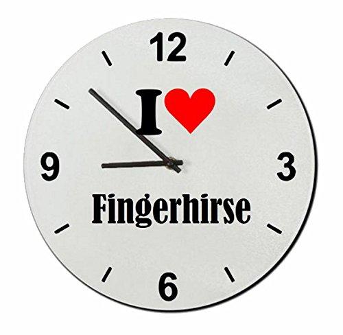 Druckerlebnis24 Glasuhr I Love Fingerhirse eine tolle Geschenkidee die von Herzen kommt| Wanduhr| Geschenktipp: Weihnachten Jahrestag Geburtstag Lieblingsmensch