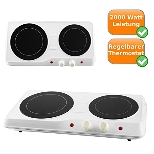 Infrarot Doppel-Kochplatte 18,9 + 16,4cm Durchmesser für alle Arten von Pfannen und Töpfen geeignet