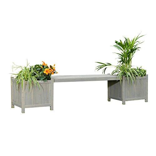 Melko 2in1 Gartenbank mit 2 Blumenkästen Blumenkübel Pflanzkübel, 180 x 40 x 40 cm, grau