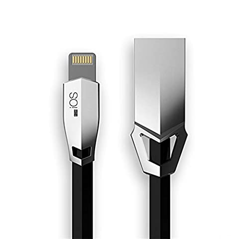 Lightning Charging Cable 3.3Ft/1M Strong Flat Noodle 8 Pin Lightning to USB Charger Cord for Apple iPhone 7 6s 6 Plus 5s 5c 5 iPad 4 Air & Air 2, iPad Pro Mini & 2 3 4 iPod Touch 5 6 Nano 7 8