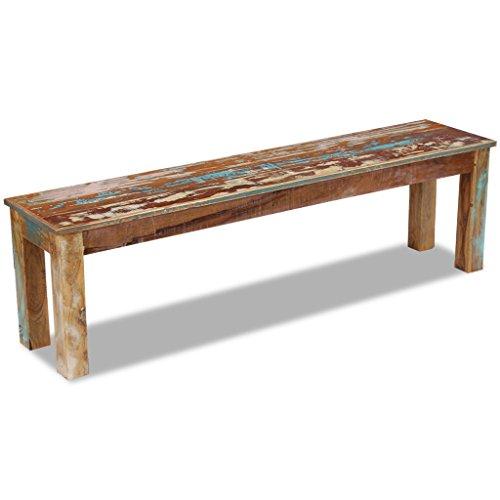 Festnight Retro-Stil Holzbank Sitzbank Ruhebank aus Recyceltes Massivholz Multifunktional Massivholzbank 160 x 35 x 46 cm - 2
