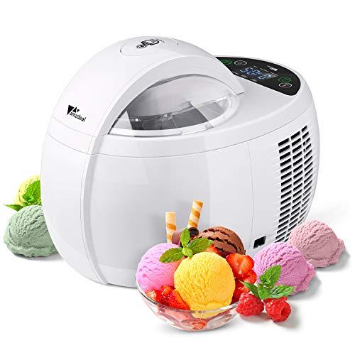 Amzdeal Eismaschine, 4-1 Ice Cream Maker mit Timer und Isolationsfunktion, 1 L Haushalt selbstkühlend mit LED Display, für Frozen Joghurt, Milchshake usw. 120W