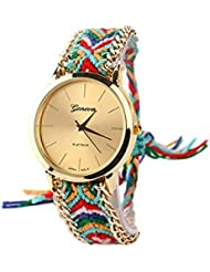Reloj - GENEVA Reloj de pulsera de cadena trenzada de mujer (Modelo 7)