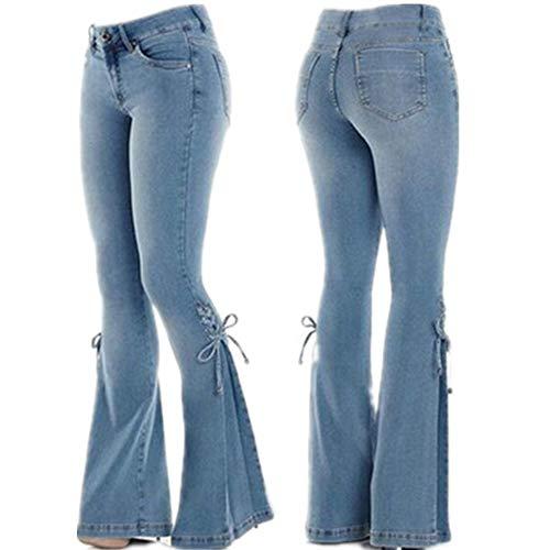 WFDDSD Damen ausgestelltes Boot Cut weites Bein Hipster Jeans Denim, High Rise Kick Flare Jeans Damen Denim Blue S -